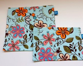 Reuseable Eco-Friendly Set of Snack and Sandwich Bags in Pale Blue Floral Fabric