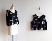 SALE////Vintage 1980s graphic printed black and white tank top