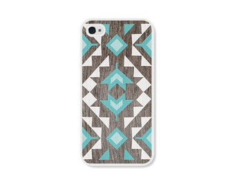 Geometric iPhone 5 Case - Plastic iPhone 5s Case - Wood Tribal Southwest iPhone 5 - Turquoise Brown Boho Phone Case - Boho iPhone 5c Case