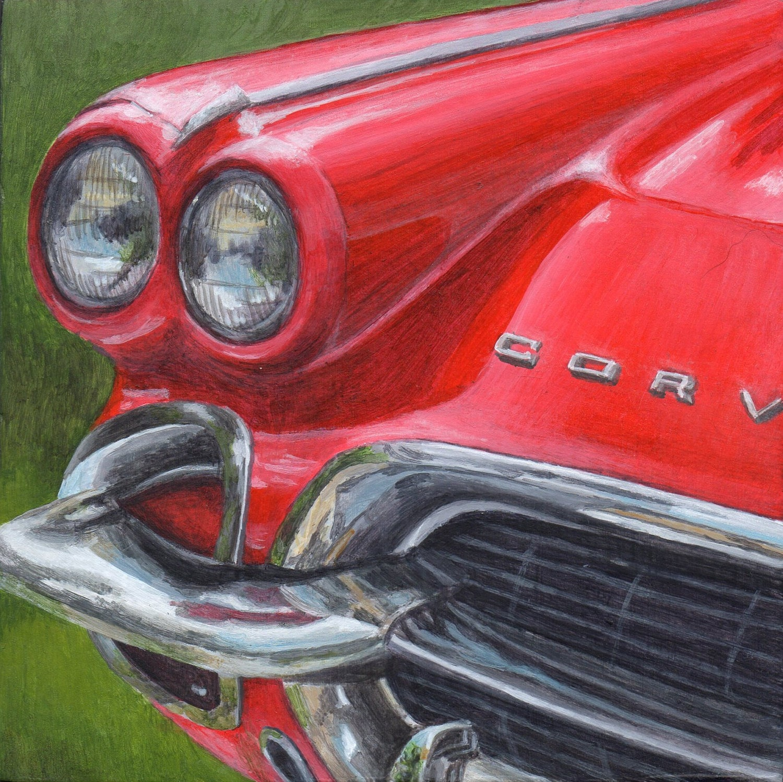 Acrylic Painting Original Art Classic Car Red Corvette