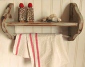 Vintage Hand Painted Gray Distressed Shabby Wooden Shelf with Towel Bar