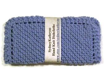 Cornflower Blue 100 Percent Cotton  Set of 2 Dish Cloths Hand Knit