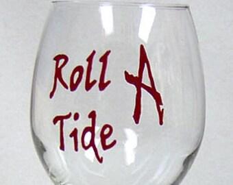 Alabama Crimson Tide Wine Glass Hand Painted