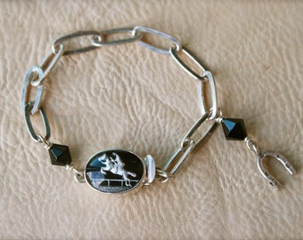 Sophisticated Silver and Black Jumping Horse bracelet