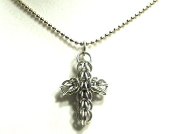Chainmaille Jewellery, Chainmail Necklace, Cross, Full-Persian, CHOOSE YOUR COLOR