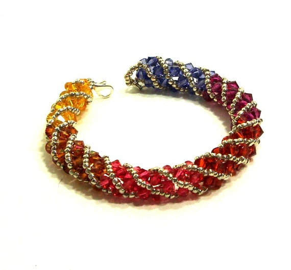 Swarovski Crystal Bracelet, Heat, Spiral Bead Weaving