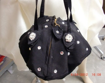 Ucycled Vintage Bag Purse c1940 with Austrian Crystal  Accents OOAK