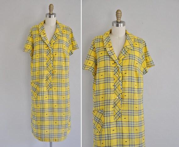 s a l e... vintage 60s plaid dress / 1960s 60s cotton plaid scooter dress / Schools Out