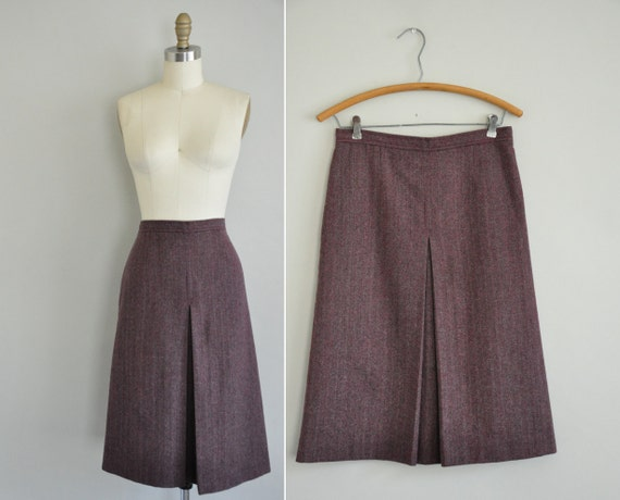 vintage 1980s tweed skirt / 80s burgundy red tweed skirt / Suzie Lee