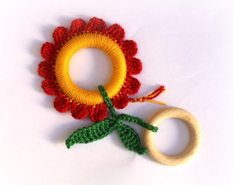 Red Flower Baby Teething Ring / Crochet toy / Fine motor skills development toy / Chewing Toy