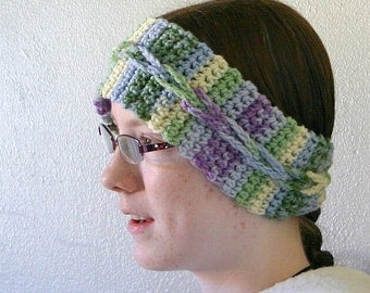 Women's ear warmer colorful winter crochet headband cabled loopy decorative variegated colorful pastel head wrap feminine