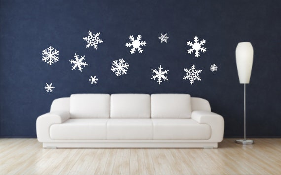 snowflake vinyl wall decals christmas wall decals merry. Black Bedroom Furniture Sets. Home Design Ideas