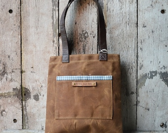 Waxed Canvas Tote Bag, Autumn Spice Gift, Shoulder Bag, Handbag, Gift for Women, Gift for Her, Birthday Gift, Canvas Bag, Personalize Bag