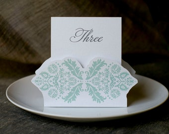 Table Number Tents-Mint Damask - Decoration for Events, Weddings, Showers, Parties