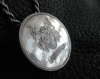 Sterling Silver Medallion Pendant with Family Crest Coat of Arms Heraldry Medallion Pendant - EXAMPLE