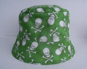BUCKET HAT, Moon Dance, Boys Sun Hat, Girls Sun Hat, Fun Hat, Skull Sun Hat, Handmade Bucket Hat, Pirate Sun Hat, Skulls and Cross Bones