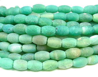 1/2 str 16pc Fire Agate 12x8mm barrel Beads green matte etched