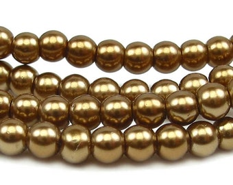 "15.5"" 4mm / 6mm / 10mm BRONZE brown Round Glass Pearls round small -  antique brass - PICK SIZE"