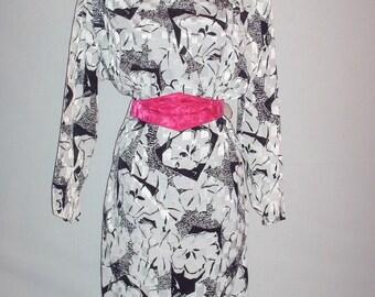 Vintage 1980s Black and White Dress Dawn Joy Fashion