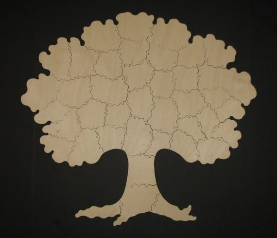 reserved - Personalized Guest Book Puzzle - Hand Cut Wooden TREE Puzzle (45 pieces) Made to Order