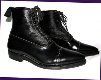 Vintage NaNa Boots  Black Leather and Cowhide Equestrian Balmoral Boots Made In England  Fits Womens US Size 8