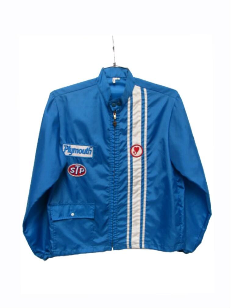 Vintage 1960s Racing Jacket Mens Blue Nylon By Atomicfireball