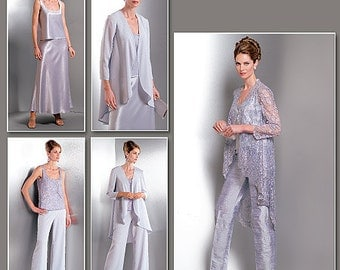 Sz 14/16/18 - Vogue Wardrobe Pattern V2779 - Misses' Graduated Hem Jacket, Tank Top, Flared or Tapered Pants and Flared Bias Skirt