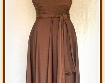 Bridesmaids dress in chocolate knee length dress Brown  wrap dress Convertible/Infinity Dress