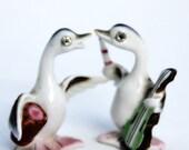 Two tiny Ducks Rhinestone eyes Musical cello drum Instruments Porcelain China Japan
