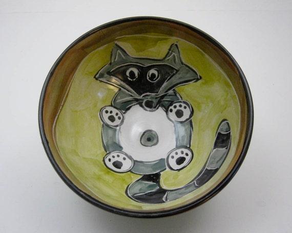 Handmade Raccoon Cereal Bowl Clay Pottery Ceramics Majolica Kitchen Olive Green Grey Gray