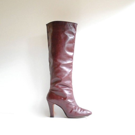 Oxblood Boots Size 7  //  Tall Leather Boots  //  TIMES SQUARE