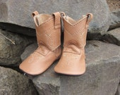 Baby's 1st Cowboy Boots Shoes in Camel Tan Leather Ready to Ship in Size 2