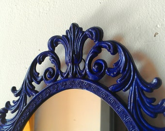 Ornate Mirror In Vintage 13 By 10 Inch Hand Painted Cobalt Blue Metal Frame Blue