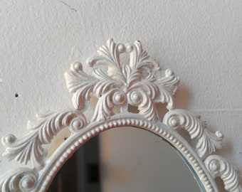 White Oval Mirror in Vintage Brass Feather Frame