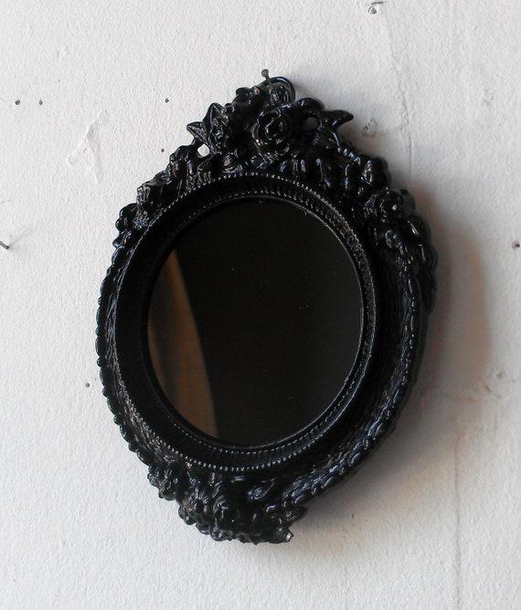 Black Scrying Mirror in Miniature Round Vintage Brass Frame