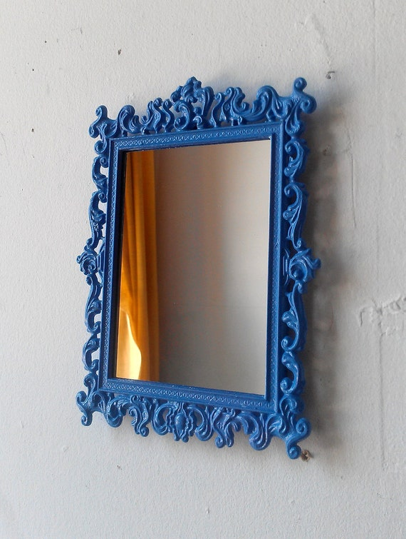 Ornate Wall Mirror in Vintage Brass Frame Periwinkle Blue