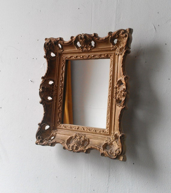 Vintage baroque mirror in small dark gold by for Baroque resin mirror