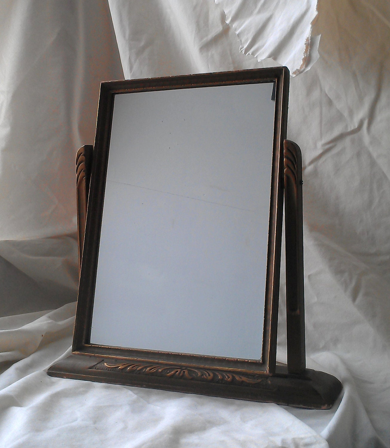 Antique Wood Swivel Art Deco Framed Mirror by SecretWindowMirrors