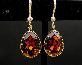 bridal bridesmaid prom pageant Swarovski special effect amber brown topaz teardrop crystal rhinestone gold cubic zirconia hook earrings