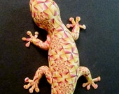 Polymer clay lizard wall hanging canework covered sculpture