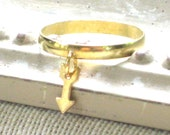 Tiny Brass Arrow Ring for your pinky or above the knuckle, Bohemian, Charm