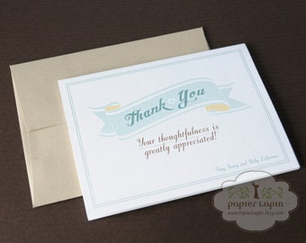 Love Banner Thank You Card / Set of 20 / eco-friendly, banner, soft blue, pastel tone