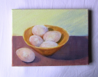 Bowl with eggs - an original oil painting - 18 x 24 cms