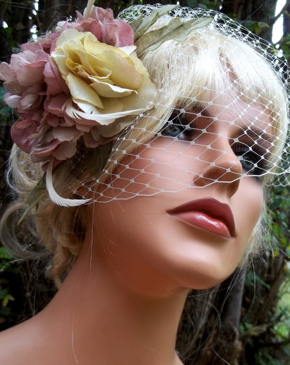 Vintage flower fascinator and french net veil, vintage style fascinator, mauve ivory fascinator -ship ready OOAK