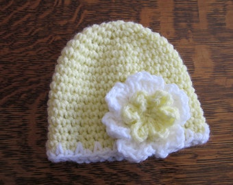 Yellow and White Girls Preemie- Newborn Baby Caps Hats