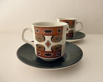 Two J & G Meakin Maori Studio teacups  - tea, coffee, Made in England