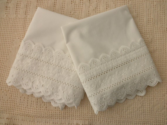 Shabby Chic white cotton PILLOWCASES with eyelet by JunqueDuJour