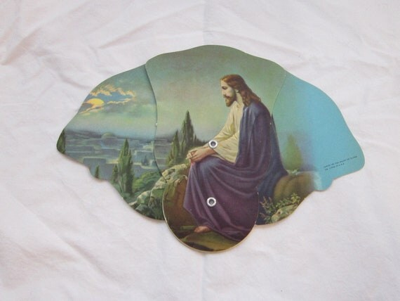 vintage paper fan with RELIGIOUS graphics - Christ on the Mount with Olives - Litho in USA