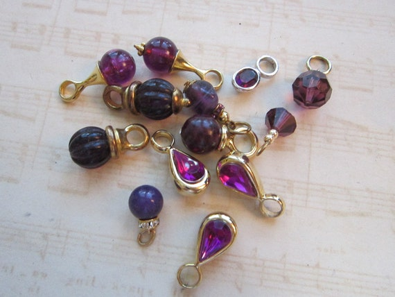 vintage bead and dangle mix - 13 pieces - PURPLE assortment