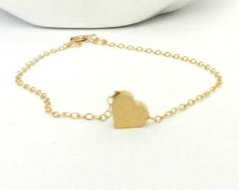 Tiny heart bracelet, 14k gold filled, delicate modern jewelry